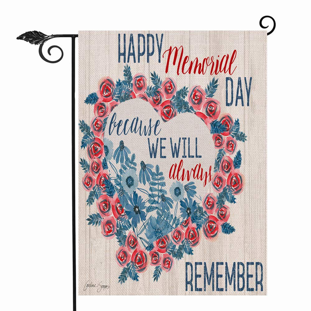 Hzppyz Happy Memorial Day Because We Will Always Remember Garden Flag, American Flower Heart Wreath Decorative House Yard Outdoor Summer Flag USA Patriotic Decor July 4th Home Outside Decorations 12x18