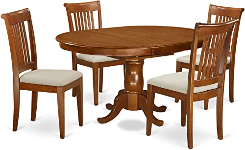 PORT5-SBR-C 5 Pc Dining room set for 4-Oval Dining Table with Leaf and 4 Dining Chairs