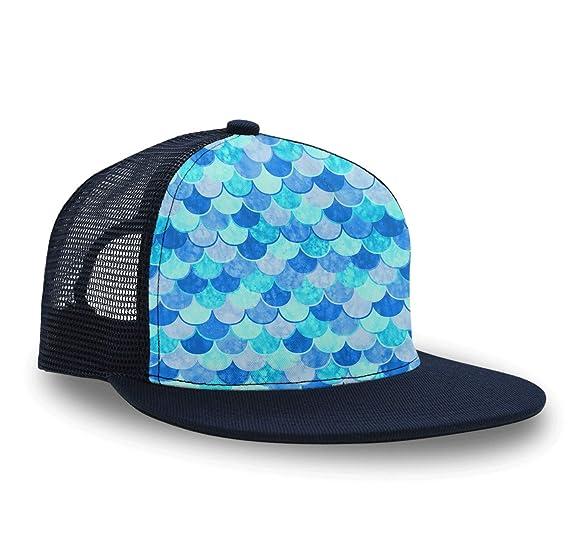 cec15fa92 Amazon.com: Trucker Hat Blue Mermaid Fish Scale Men Boys Blue ...