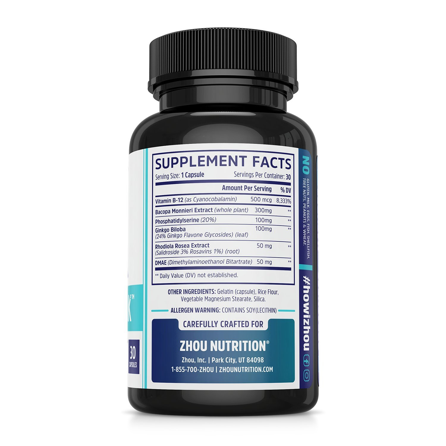 Neuro-Peak Brain Support Supplement, Nootropic Formulated for Memory, Focus, Clarity, 30 Capsules by Zhou Nutrition (Image #3)