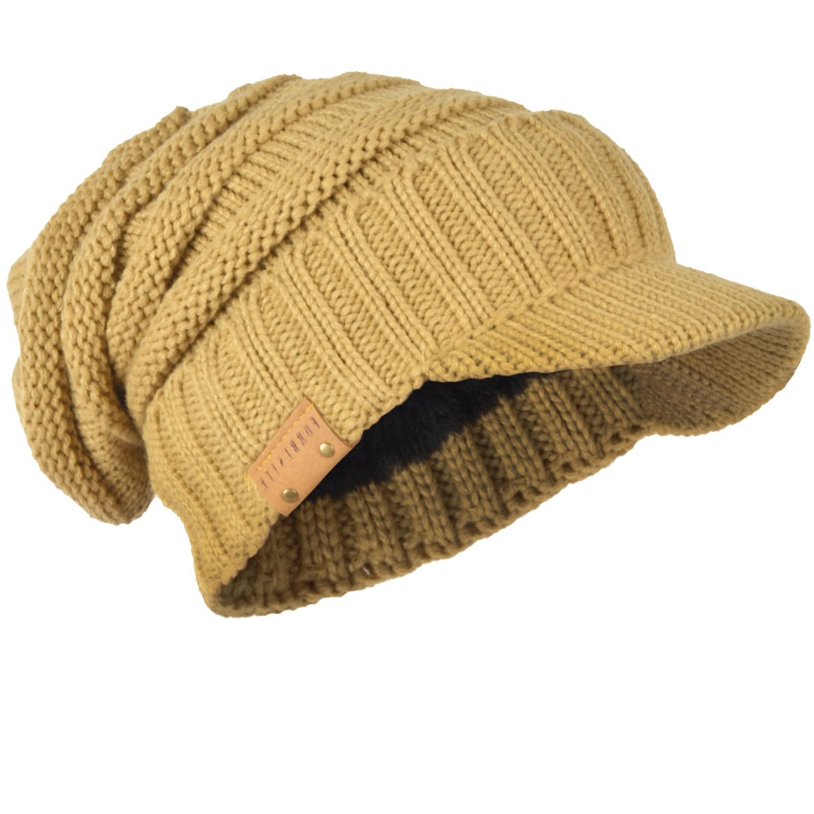 HISSHE Men\'s Thick Knit Newsboy Cap Visor Beanie Hat Fleece Lined Multicolor B319