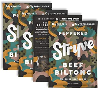 product image for Stryve Biltong, Beef Jerky without the Junky. 16g Protein, Sugar Free, No Carbs, Gluten Free, No Nitrates, No MSG, No Preservatives. Keto and Paleo Friendly. Peppered, 2.25oz 4-Pack