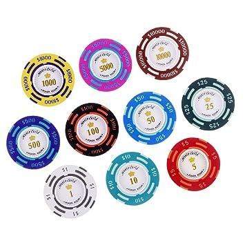 IPOTCH 10pcs/ Set Poker Chips para Casino Juego de Mesa Coins de ...
