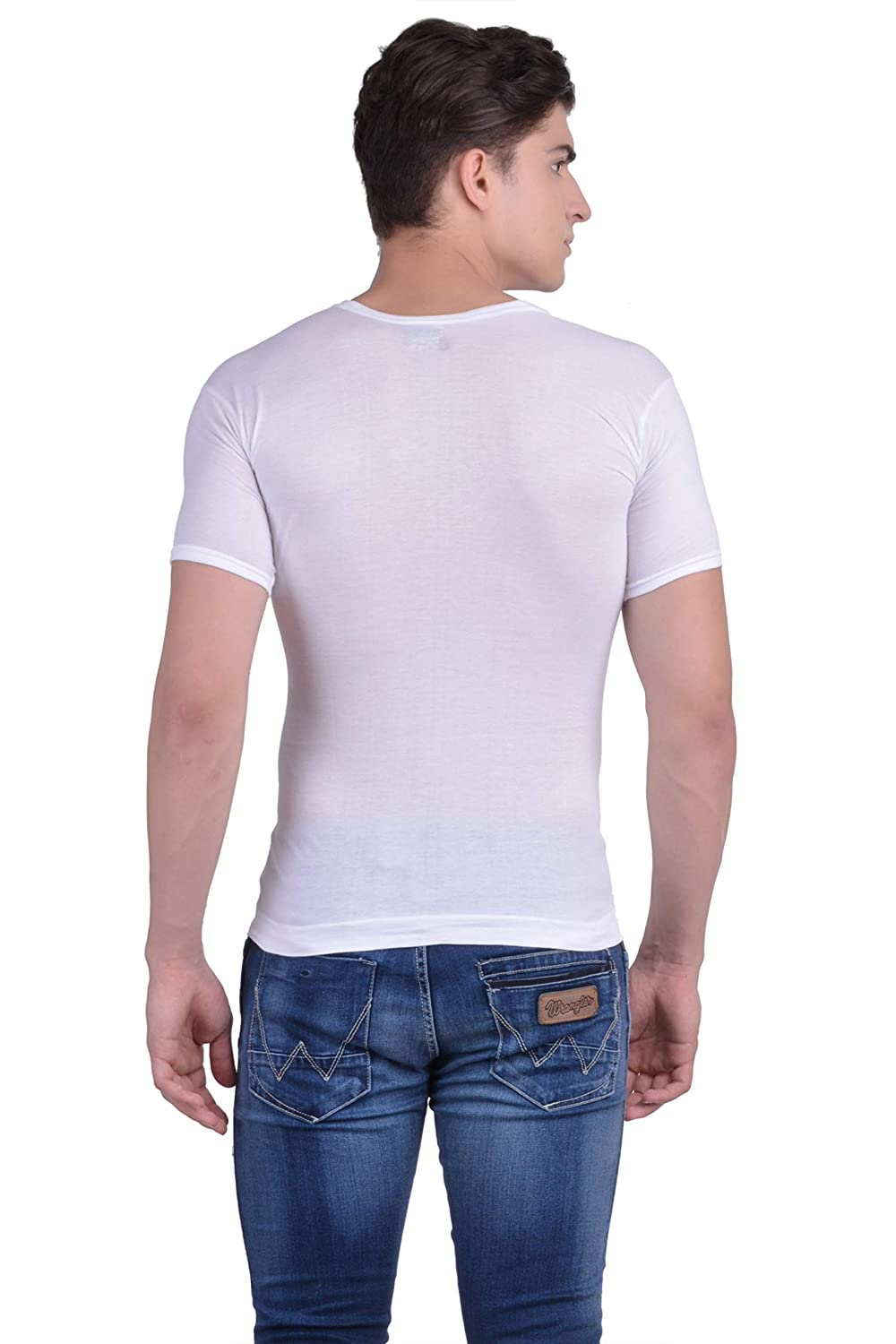Force NXT Mens White Cotton Half Sleeve Fine Vest Pack of 3