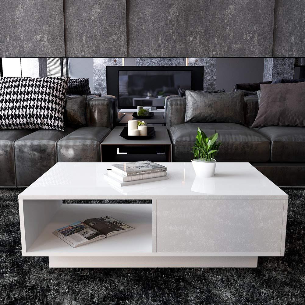 95 x 55 x 31cm Tavolino da Caff/è Bianco Lucido Tavolino da Salotto Moderno Tavolino da Soggiorno Basso con Cassetto