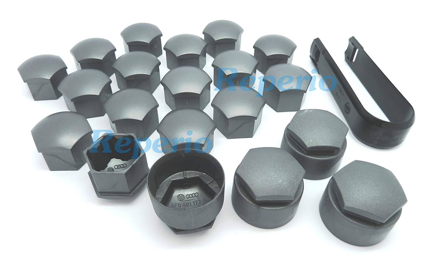 AUTOUTLET 20Pcs Black Wheel Nut Caps Bolt Covers 17mm Universal including 16 Standard Ones 4 Locking Ones Removal Tool