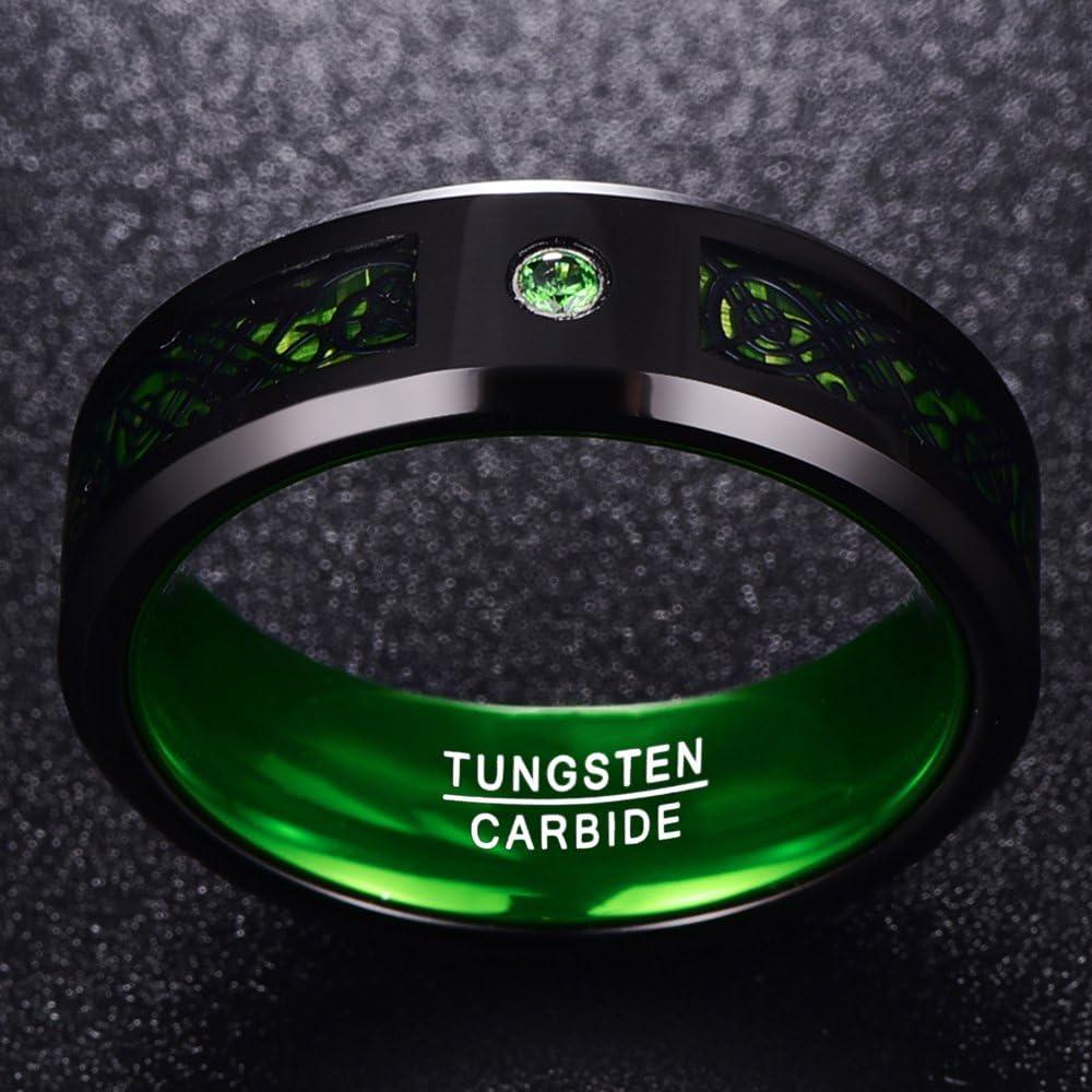 diam/ètre 17,20 /à 21,34/cm Nuncad Bague unisexe en tungst/ène avec oxyde de zirconium vert et fibres de carbone vertes Style celte Taille 54 /à 67