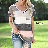 OrliverHL Women's Casual V Neck T-shirt Color Block Patchwork Short Sleeve Blouse Tee Tops,Gray,L