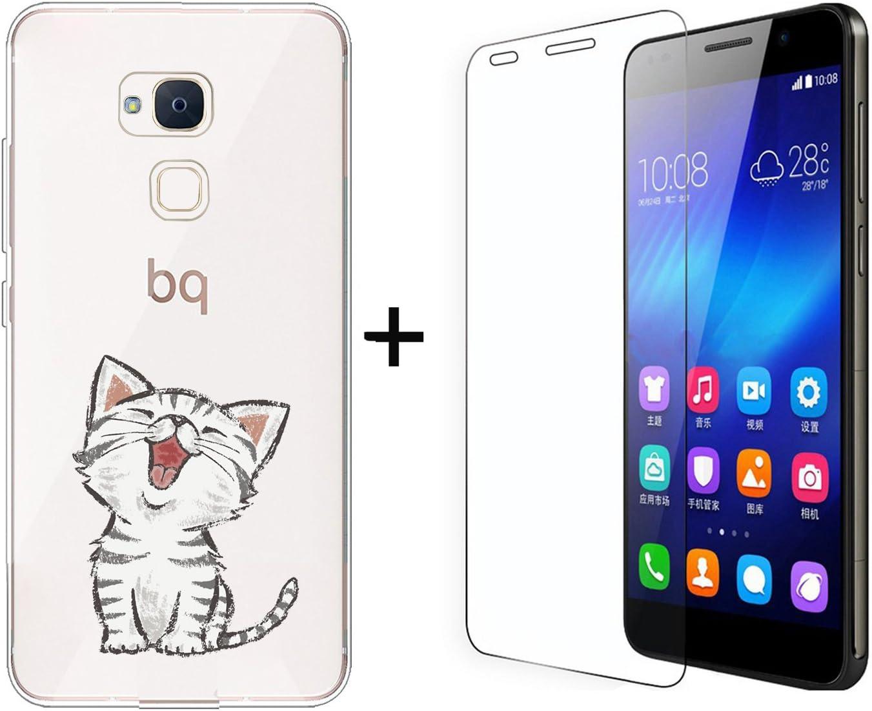 Funda BQ Aquaris V,Gatos Flexible Suave Transparente TPU Gel silicona Anti-Arañazos Smartphone Cascara Protectora Para BQ Aquaris V / VS (5,2 Pulgadas) con UN Pelicula Protectora Vidrio Templado: Amazon.es: Hogar