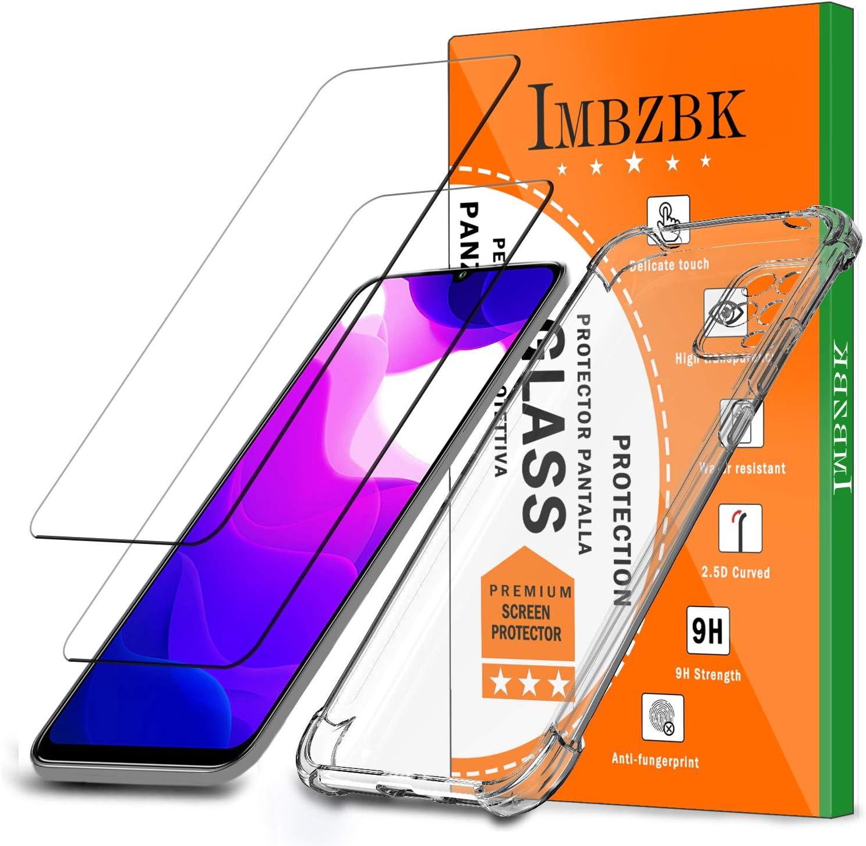 IMBZBK Compatible con【2 Pack】 Protector Pantalla Xiaomi Mi 10 Lite 5G, 【Anti-Huella Digital】 【HD Clarity】, con Funda de TPU Transparente para Funda Xiaomi Mi 10 Lite 5G - Transparente