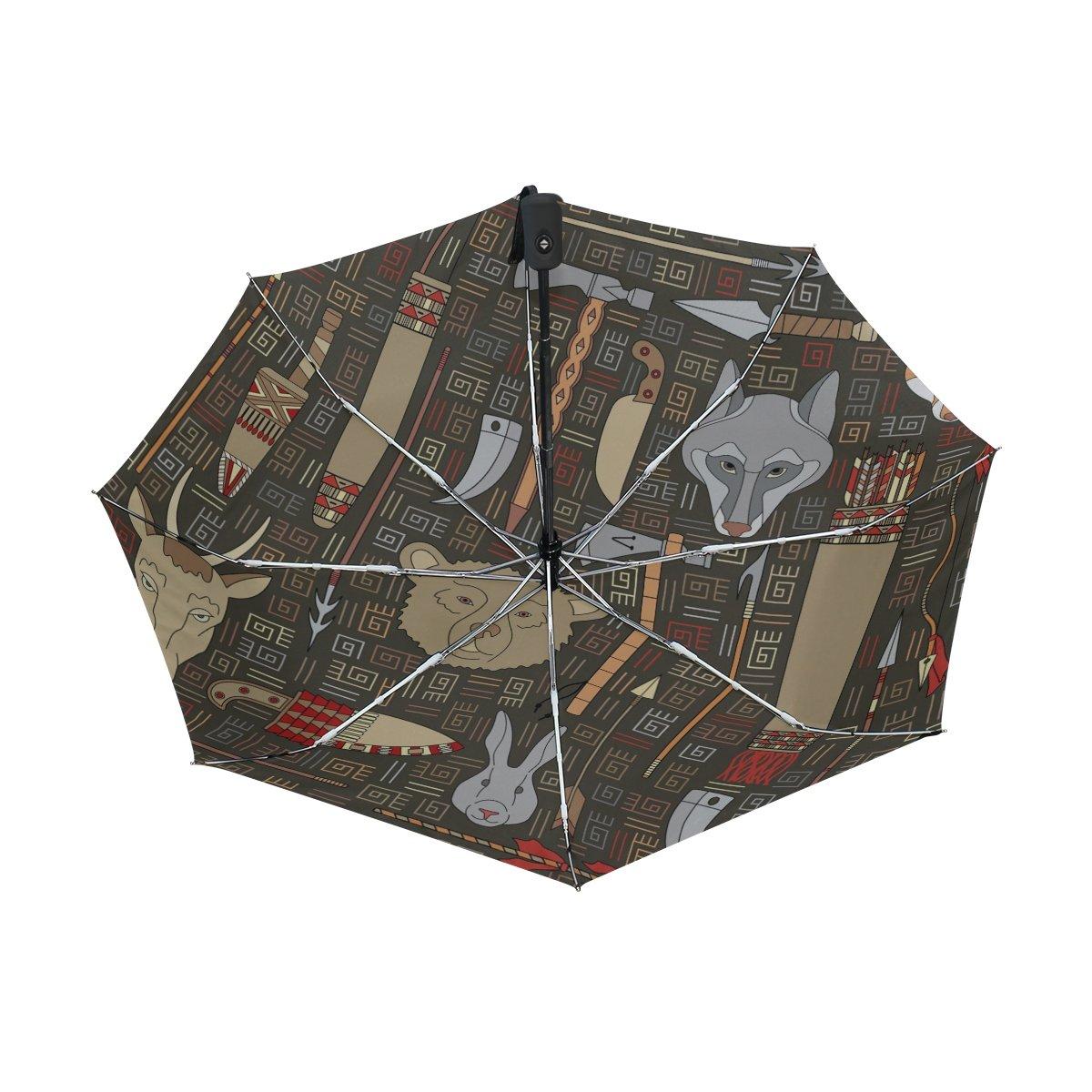 bennigiry indio caza 3 Folds Auto Abrir Cerrar paraguas compacto, resistente al viento portátil durabilidad viaje lluvia paraguas fácil de llevar: ...