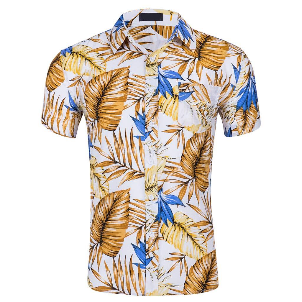 Mens New Short Sleeves of Beach Wind Printing Fashion Cotton Short Sleeve Top Palarn Mens Fashion Sports Shirts