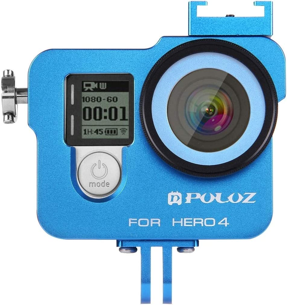 Color : Blue XIAOMIN Housing Shell CNC Aluminum Alloy Protective Cage with 37mm UV Lens Filter /& Lens Cap for GoPro HERO4 Premium Material
