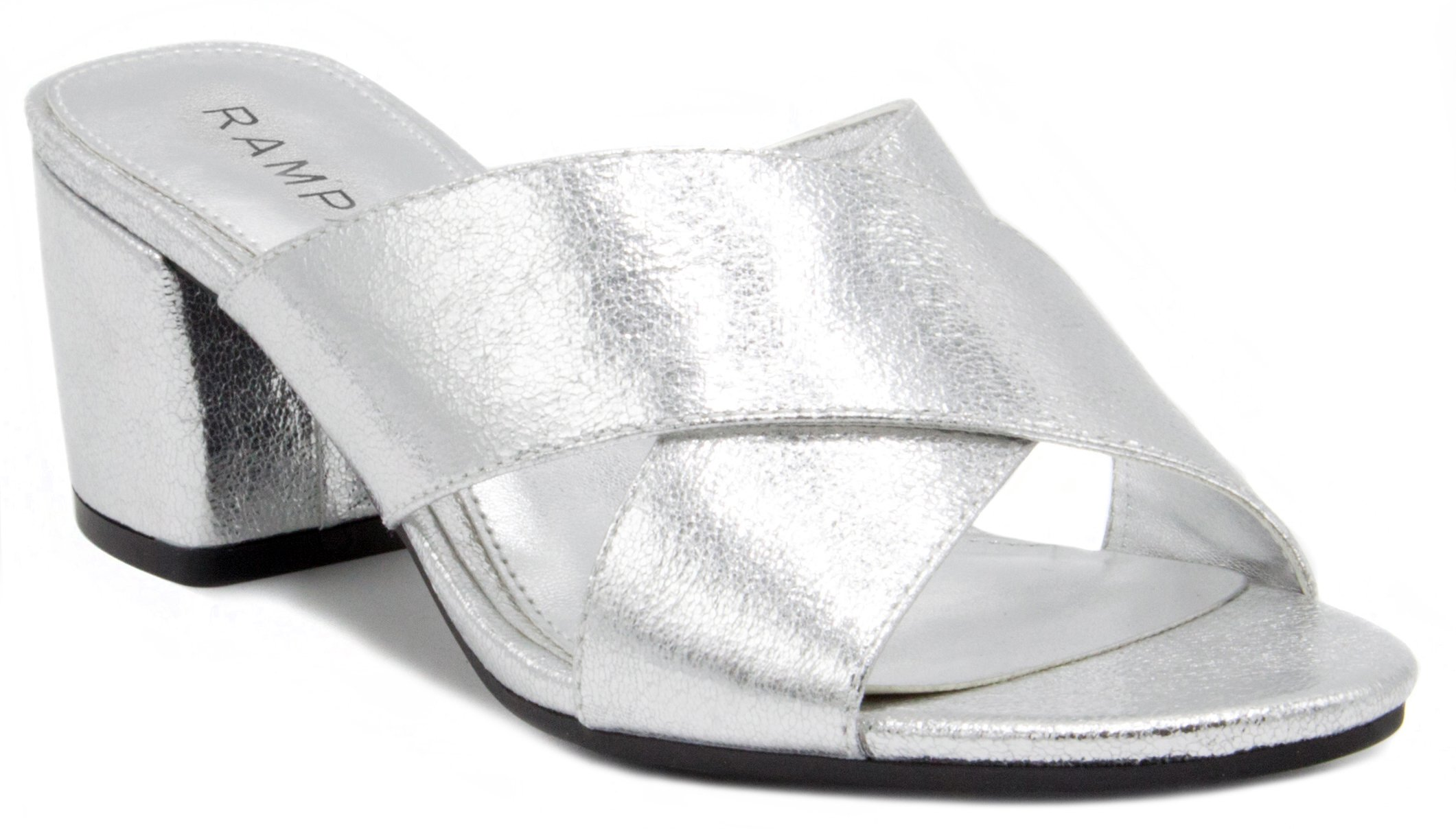 Rampage Women's Hannie Heeled Cross Banded Slide Sandal 10 Silver Foil
