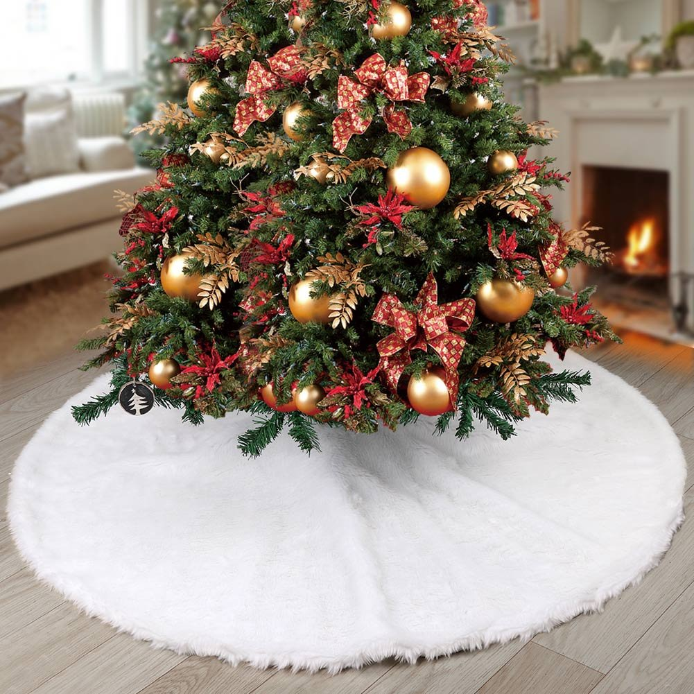 Aparty4u White Snow Chirstmas Tree Skirt 48 inches Faux Fur Tree Skirt for Christmas Tree Decorations