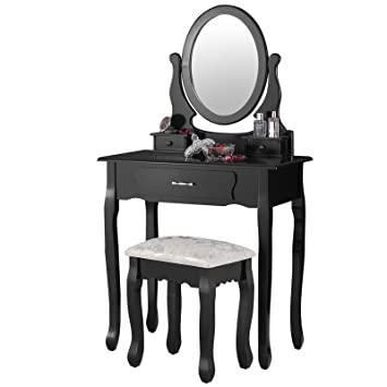 Mecor Black Dressing Table Set With Mirror And Stool   3 Drawers   Oval  Mirror Vanity