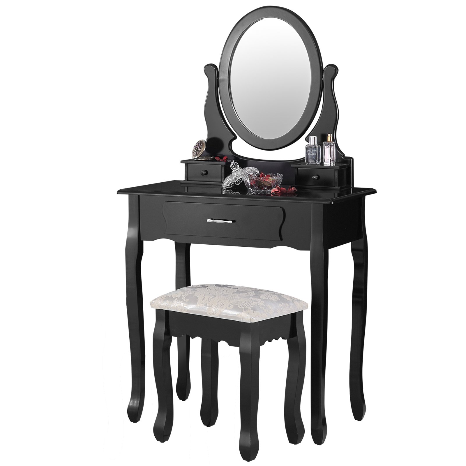 Mecor Vanity table Makeup Set Dressing Table with Stool,3 Drawers and Oval Mirror ,Black