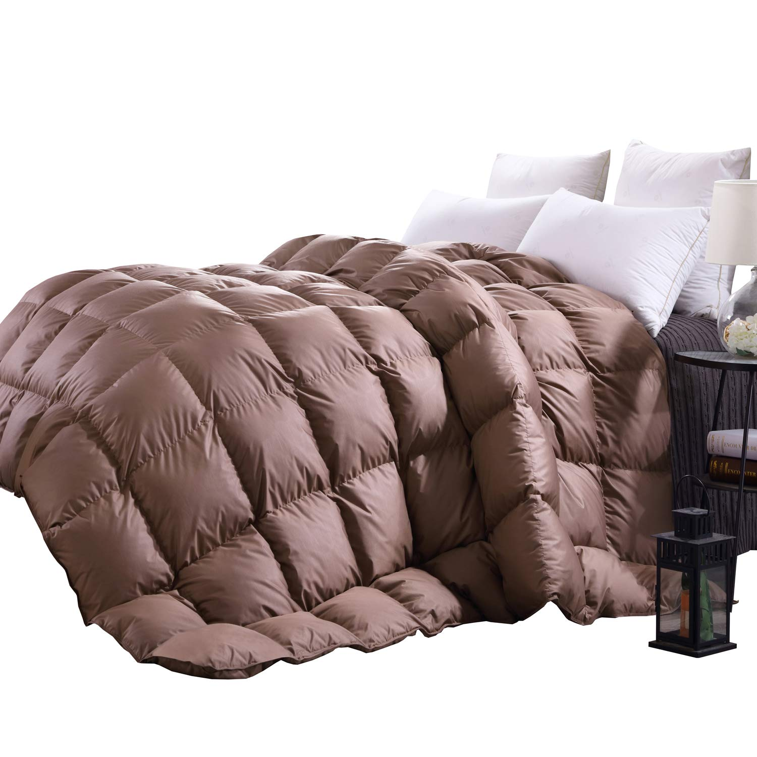 C&W Luxurious Queen Size Siberian Goose Down Comforter,Heavywarmth Winter,Down Comforter Queen Size,1200 TC-100% Egyptian Cotton Cover,750 Fill Power,60 oz Fill Weight, Brown Solid BNTC C&W Duvet04