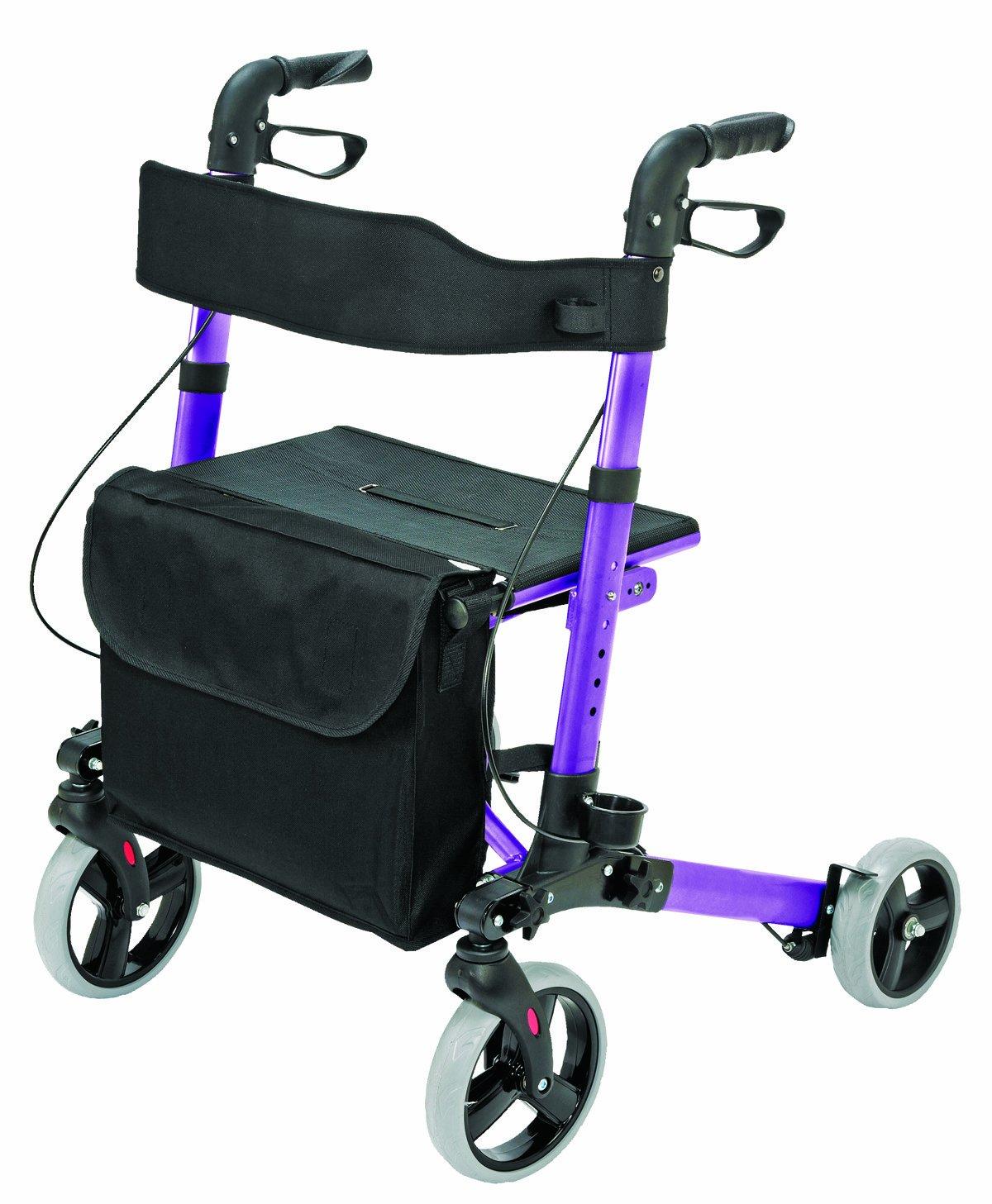 4 Wheel Rollator Walker with Seat - Medical Walker for Seniors, Euro Style Rollator, Compact Folding Walker, Lightweight Aluminum Walker, Purple