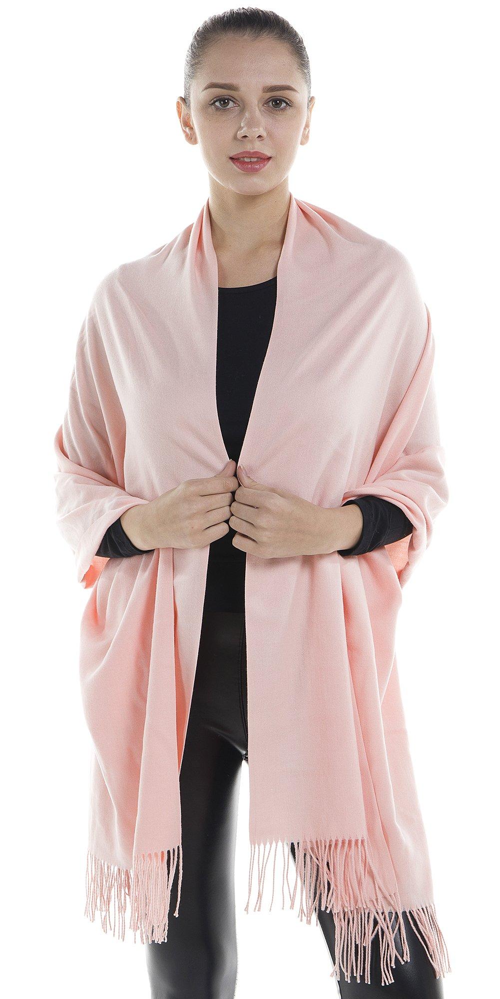 Niaiwei Women Scarf Plaid Blanket Scarves Wraps Shawl winter Cashemere scarf (Peach)