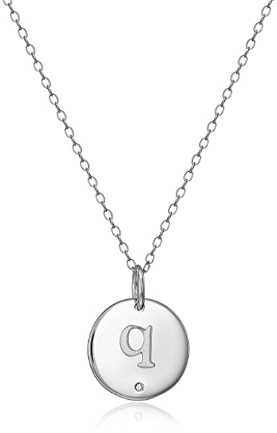 """9ce89142b Sterling Silver Diamond Accent Round Disc Initial Letter """"Q"""" ..."""