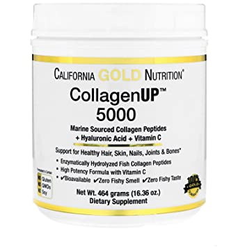 California Gold Nutrition Collagen UP 5000 Marine-Sourced Collagen Peptides Hyaluronic Acid Vitamin C 16