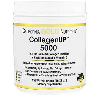 California Gold Nutrition Collagen UP 5000 Marine-Sourced Collagen Peptides Hyaluronic Acid Vitamin C 16
