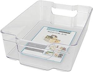"Kitchen Spaces KSMB12-AMZ Medium Bin Food Storage Organizer for Fridge and Pantry, 12.3"" x 8.3"" x3.5"", Clear"