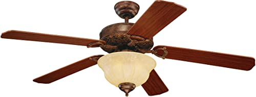 Monte Carlo 5OR52TBD Flush Mount, 5 Mahogany Blades Ceiling fan with 60 watts light, Tuscan Bronze