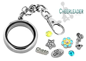 CHEERLEADER 30mm Memory Locket KEY CHAIN Pendant Set, Cheer Team Charms, Gift Box