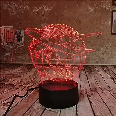 Nueva lámpara 3D Fthing Air Plane Nightlight Mood Lamp 7 ...