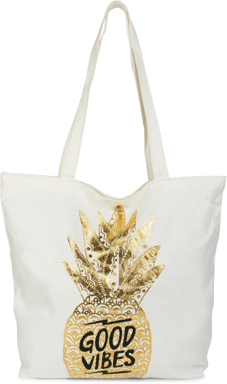 styleBREAKER Cabas, sac de courses avec ananas doré et imprimé 'Good Vibes', fermeture à glissière, sac de plage, sac en tissu, femmes 02012222, couleur:Blanc