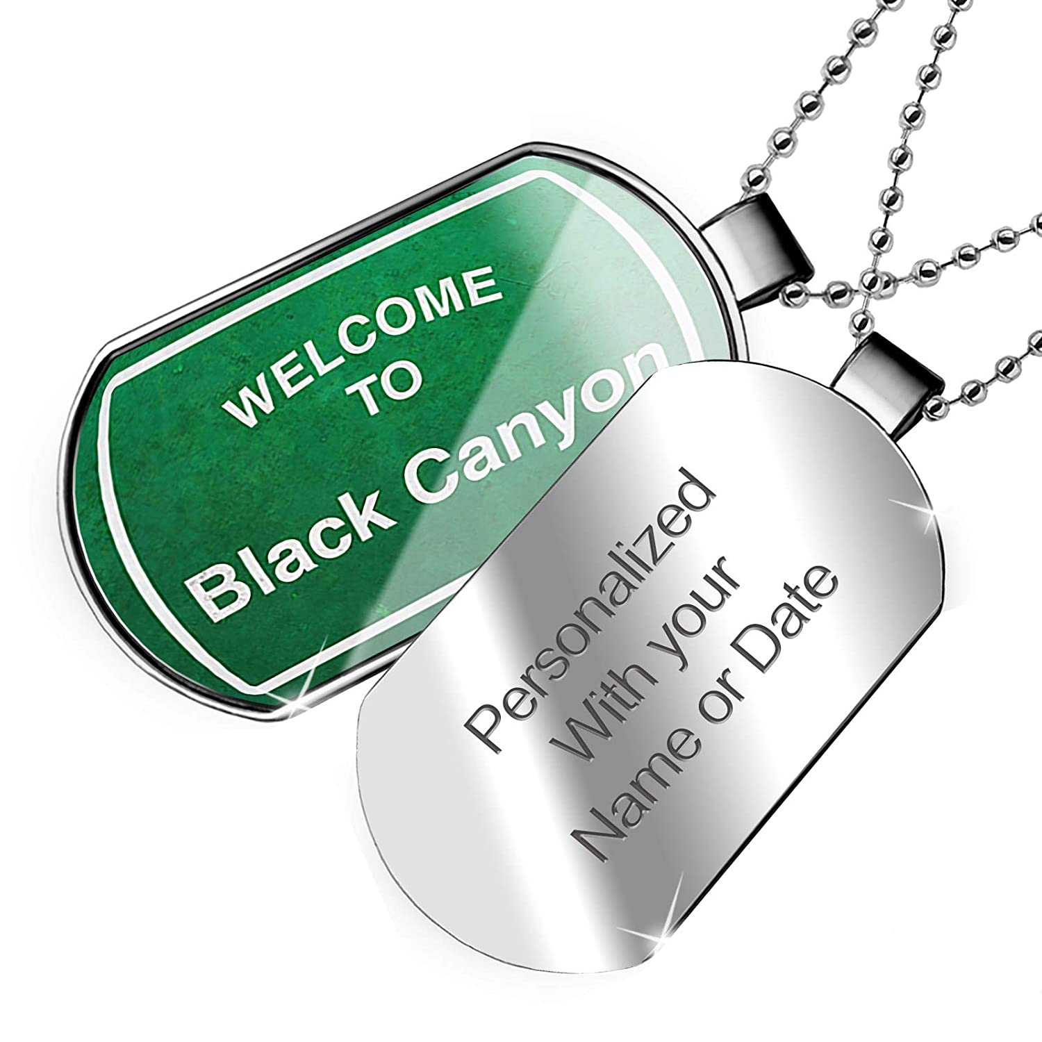 NEONBLOND Personalized Name Engraved Green Road Sign Welcome to Black Canyon Dogtag Necklace