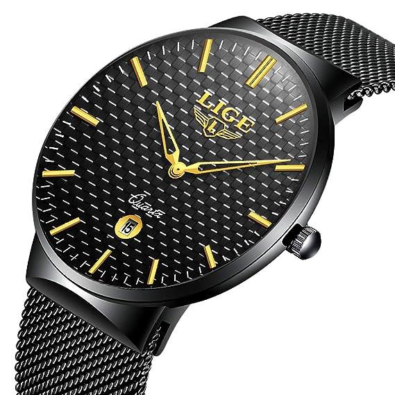 Relojes para Hombre Cuarzo Minimalista Delgado Reloj de Hombres Marca LIGE Elegante Negocios Retro Relojes Negro Malla Acero Inoxidable Impermeable Reloj ...