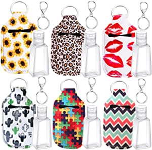 6 Sets Bottle Holder and Keychain Kits, include Reusable Bottle Holders, 30 ml Empty Liquid Dispenser for Soap Lotion and Liquids