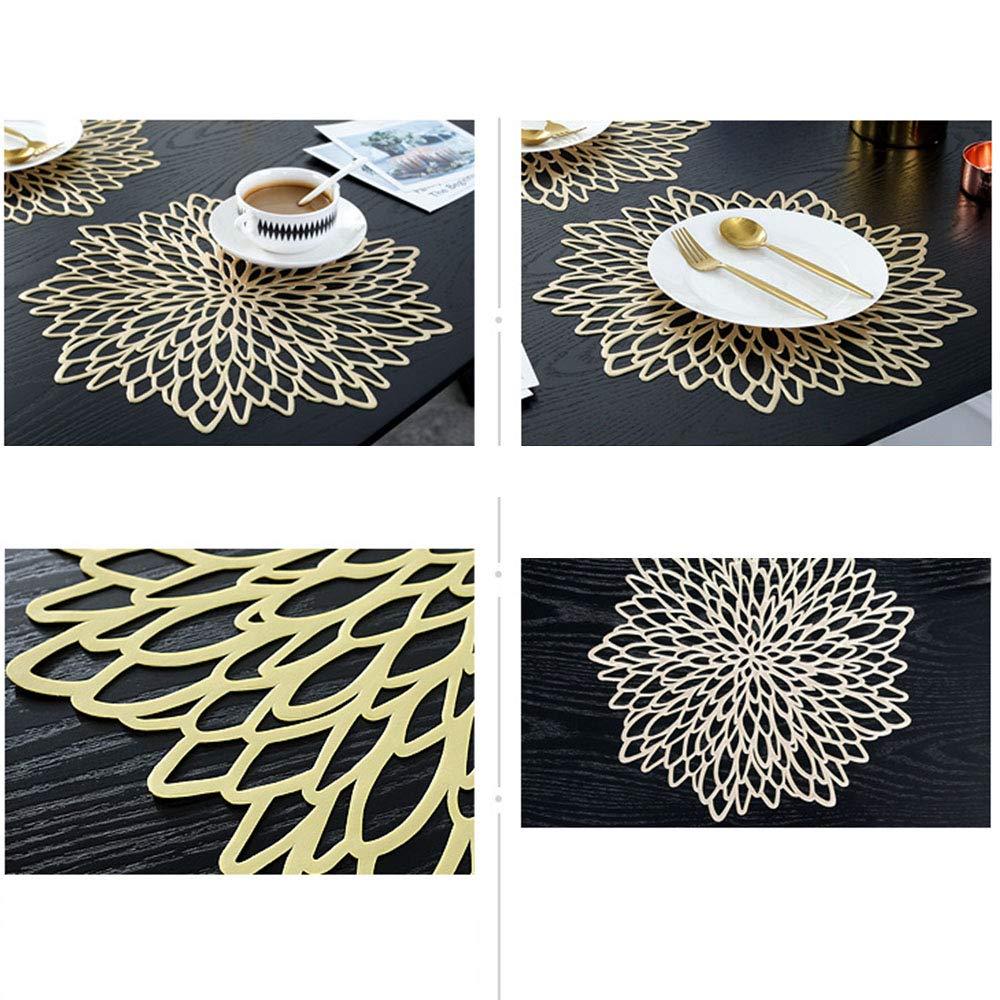 4 piezas Manteles redondos met/álicos dorados Mantel antideslizante Mantel individual Coaster de pl/ástico PVC Almohadillas de aislamiento Alfombrillas Globaldream Manteles redondos ahuecados