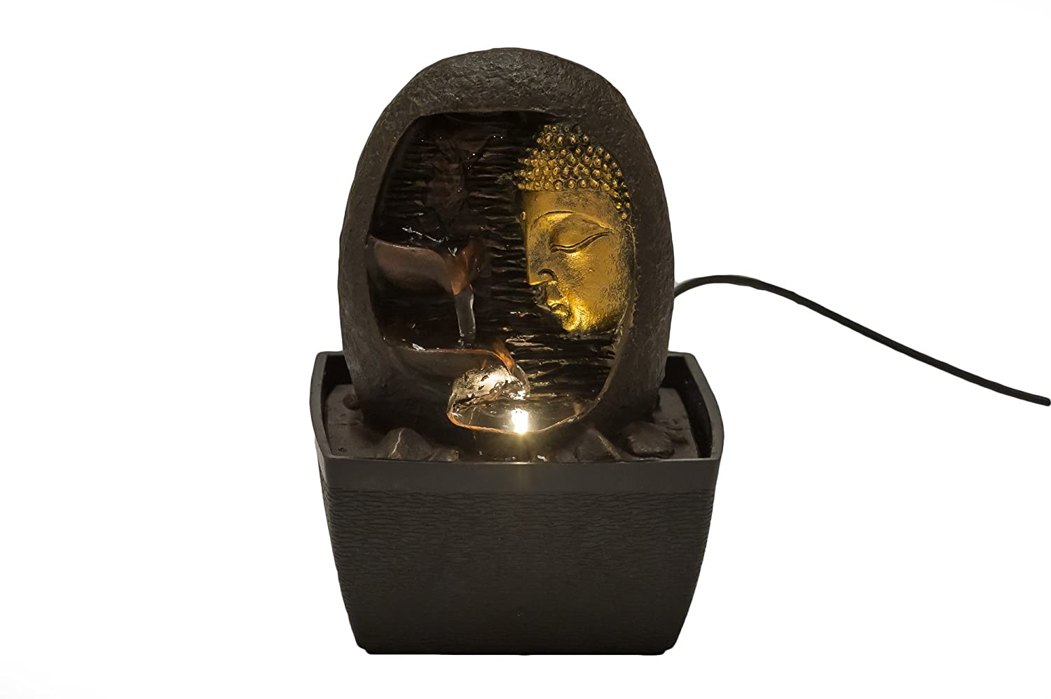 buddha face indoor fountain by zeninflux polyresin tabletop water fountain with lighting system electric