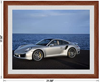 Porsche 911 (991) Turbo S (2013) Framed Car Art Poster Print Silver