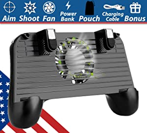 Mobile Game Controller Gamepad With Power Bank | Portable Cooling Fan for PUBG, FortniteL1R1 Aim and Shoot Trigger Joystick for iPhone iOS Android Phone Grip Handle [Upgraded 2000mAh Version]