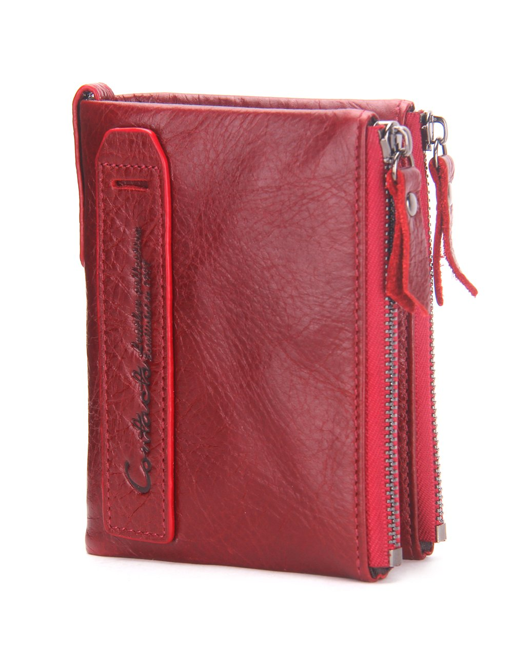 Herren Echtes Leder-Bifold Wallet Doppelreiß verschlusstasche Geldbö rse Braun 10454423
