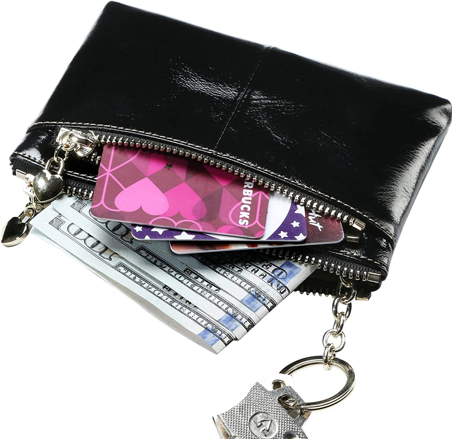 Itslife Small Women's Wallet Zipper Change Coin Purse RFID Card Cases Genuine Leather Wallets for women with key chain