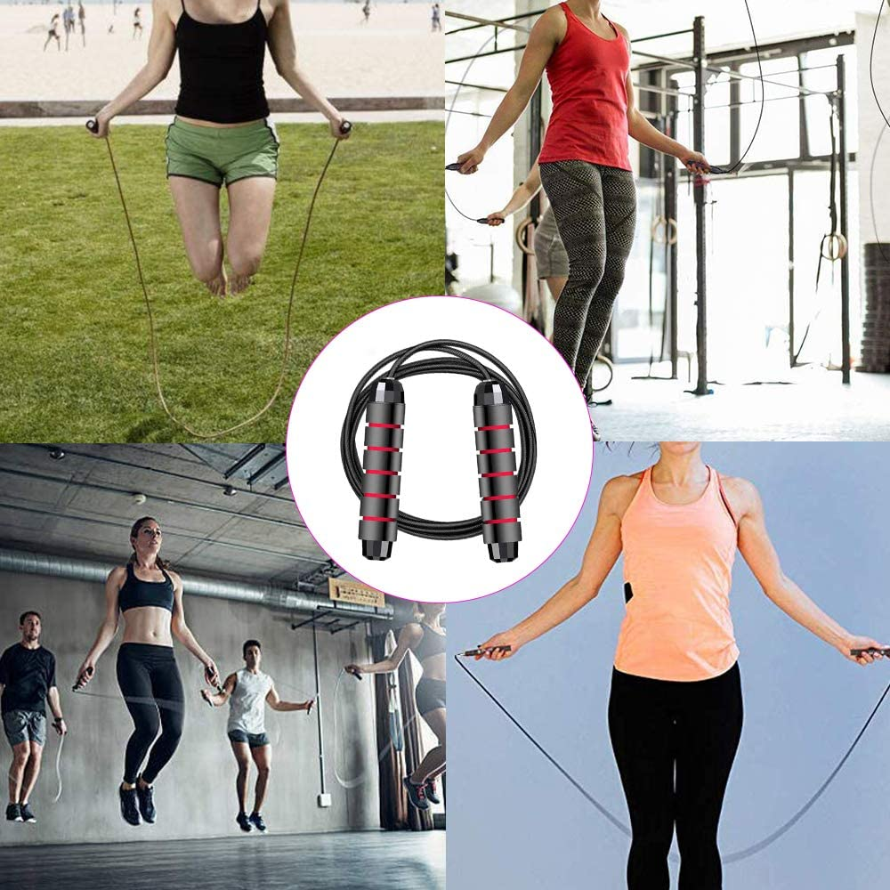 Exercise THETAG Skipping Rope Workout Bunahome Jump Rope Tangle-Free with Ball Bearings Rapid Speed Skipping Rope Cable Adjustable Jumping Ropes with 6 Memory Foam Handles for Crossfit