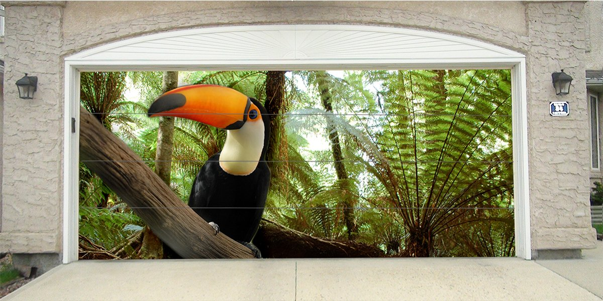 Re-Usable 3D Effect Garage Door Cover Billboard Sticker Decor Skin - Tucan - Sizes to fit your Garage.