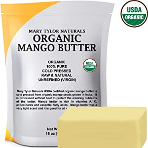 Organic Mango Butter (1 lb), USDA Certified, Cold Pressed, Unrefined by Mary Tylor Naturals, Premium Grade Raw Pure Mango Butter, Amazing Skin Nourishment Great Moisturizer