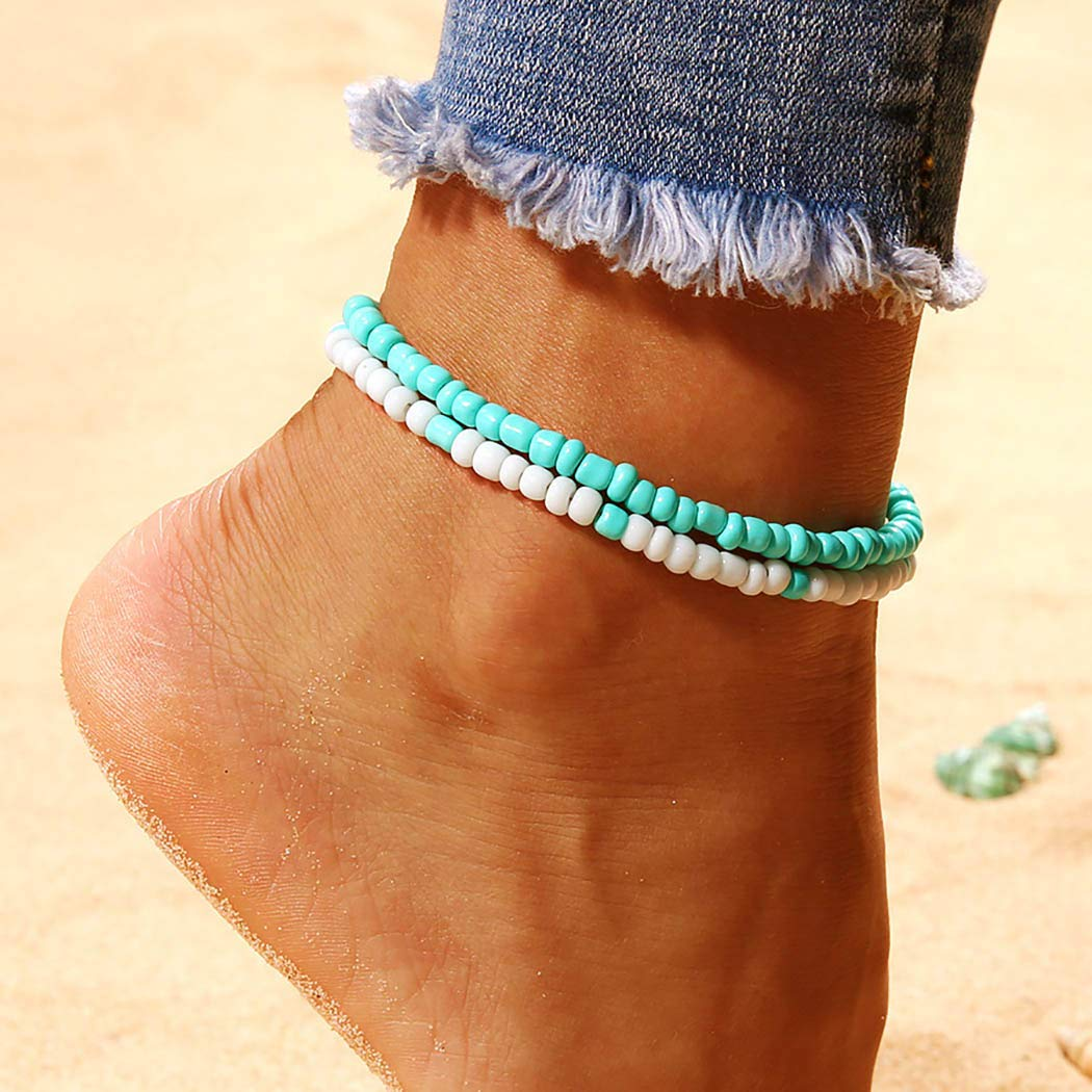 Earent Boho Turquoise Anklets Blue Double Ankle Bracelets Chain Beach Foot Jewelry Adjustable for Women and Girls