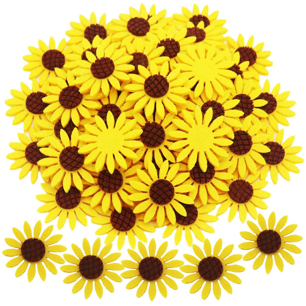 KESTAR 50pcs Felt Sunflower Applique Patches for Scrapbooking DIY Craft Making Clothes Sewing Handcraft Decoration, 4CM