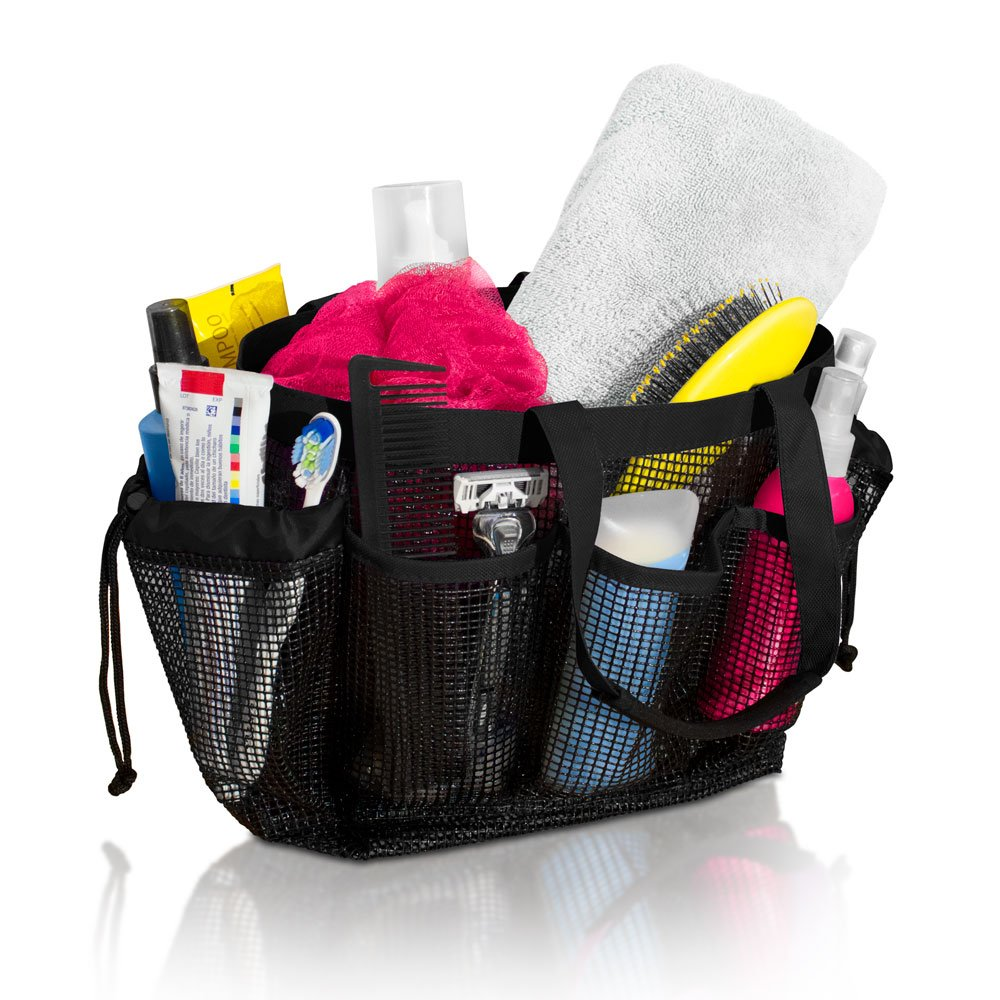 Simply Things Mesh Shower Caddy and Bath Bag Organizer Tote with 9 Compartments and Two Reinforced Handles, This Mesh Shower Tote is Perfect for Dorm, Gym, Camping, Beach, and Travel. - (Black)