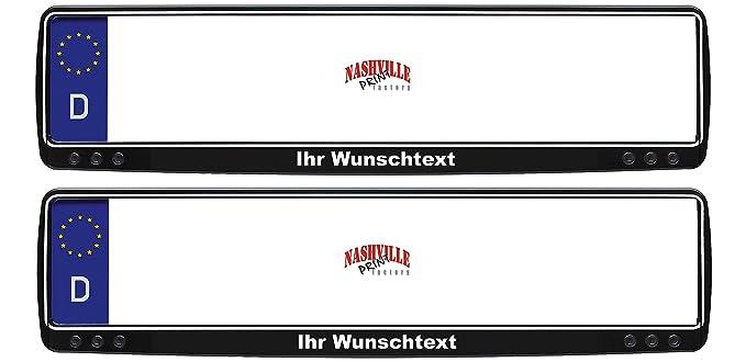 Nashville print factory 2 Stück Kennzeichenhalter schwarz mit Wunschtext beschriftet Kennzeichenhalterung