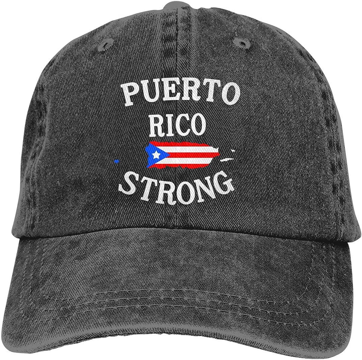 Puerto Rico Flag Plain Adjustable Cowboy Cap Denim Hat for Women and Men
