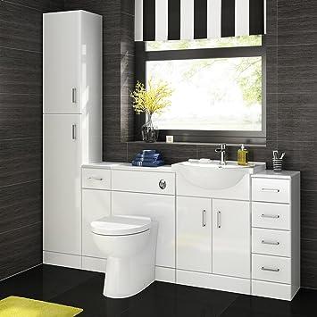 1900 Mm White Gloss Bathroom Vanity Furniture Basin Unit + Back To Wall  Toilet